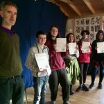 Teacher Cormac Griffith with 5 of the Raheen Wood ALFA students who received their Crossfields Level 2 Integrated Education Certificates.